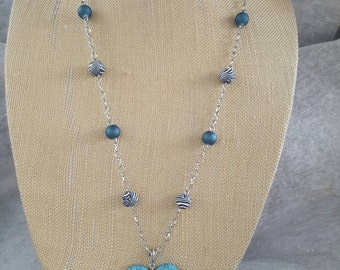 Silver,  Black,  Teal,  Heart pendant necklace