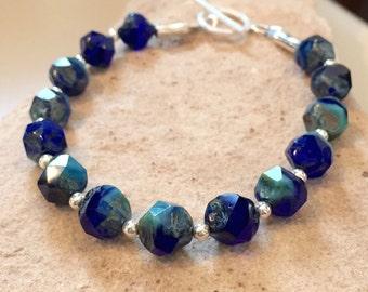 Blue bracelet, chunky bracelet, statement bracelet, Czech glass bead nuggets, sterling silver bracelet, sundance style bracelet gift for her