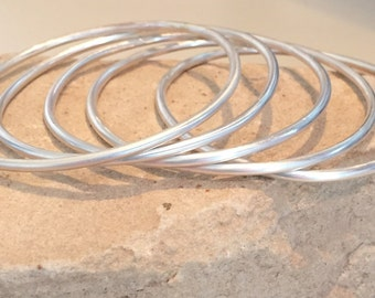Sterling silver bangle bracelets, round bangle bracelet, stackable sterling silver bracelets, bangles, gift for her, gift for wife