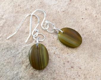 Pretty green/olive drop earrings, oval glass bead earrings, dangle earrings, sterling silver earrings, simple earrings, drop earrings
