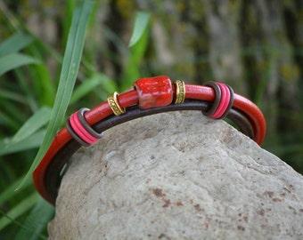 Fiery Red Leather Bracelet