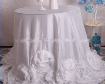 Rose Tablecloth, White Rose Tablecloth, White Rosette Tablecloth, Rosette Tablecloth