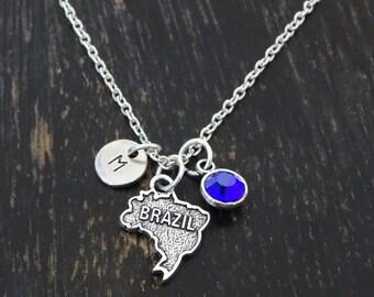 Brazil Necklace, Brazil Charm, Brazil Pendant, Brazil Jewelry, Brazil Map, Brazilian Necklace, Brazilian Jewelry, Brazilian Girl