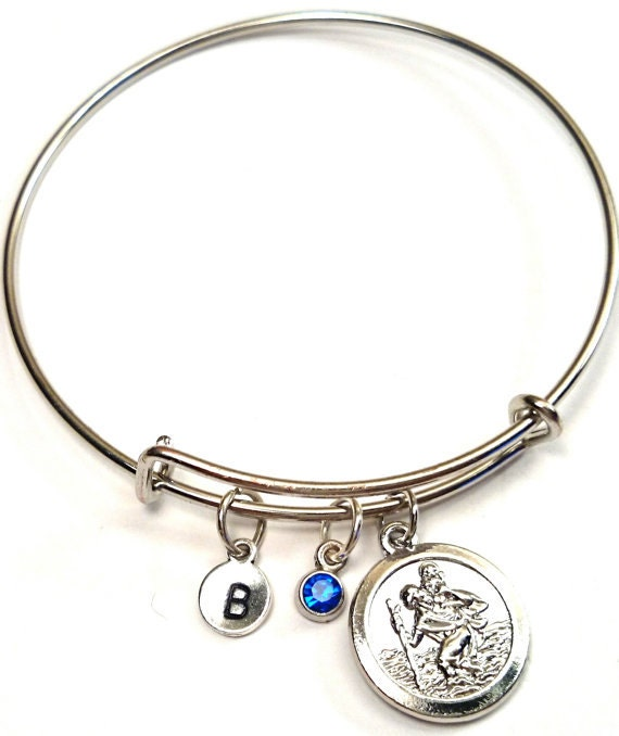 st christopher bangle bracelet adjustable expandable bangle