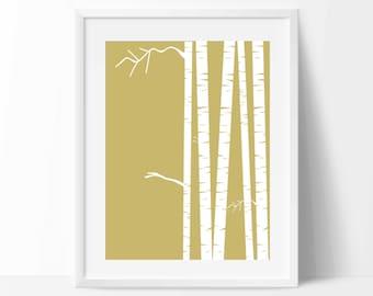 Birch tree wall art, Birch tree decor, Forest nursery, Forest print, Forest wall art, Nursery decor, Nursery wall art