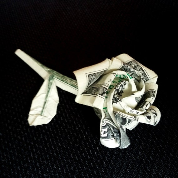 Money Origami ROSE Art Gift FLOWER Made of Real One Dollar - photo#13
