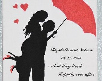 Red Umbrella Canvas Sign
