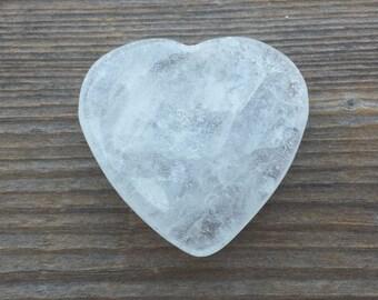 NATURAL CLEAR QUARTZ Gemstone Puffy Heart 30-35mm