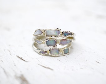 Raw Opal Silver Ring / Opal Ring / Silver / Stacking Ring / Solitaire Ring / October Birthstone / Triple Stone Ring