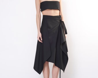 Black Modern Wrap Skirt / Black Long A-line Skirt / Modern Cut Black Asymmetrical Skirt by DIDRESS