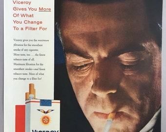 1958 Viceroy Cigarettes Print Ad