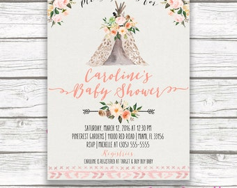 Teepee Baby Shower Invitation, Boho Baby Shower Invitation, Tribal Invitation, Watercolor Floral Girl Invite, Pow Wow Printable Invitation