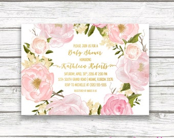 Rose Baby Shower Invitation,  Floral Baby Shower Invitation Girl, Boho Baby Shower Invite, Pink and Gold Foil, Printable Invitation