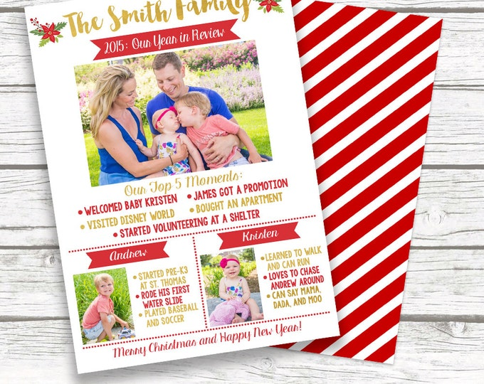Year in Review Christmas Holiday Gold Foil Photo Card, Red White Family Christmas Card, Personalized Printed or Printable, Matching Back