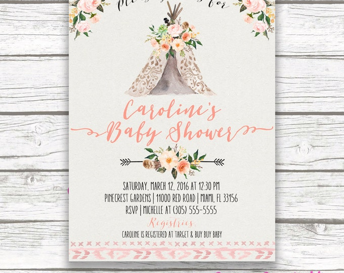 Teepee Baby Shower Invitation Boho Tribal Watercolor Floral Girl
