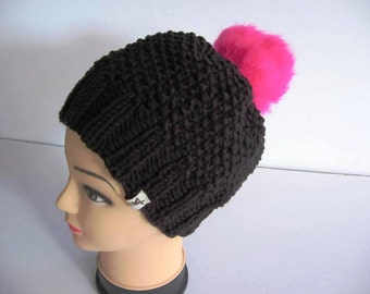 EL BURRO Bobble Hat Beanie Cap 45% cotton black pink
