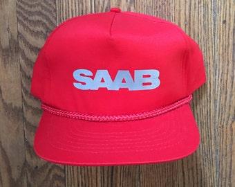 Vintage Saab Automobile Snapback Hat Baseball Cap