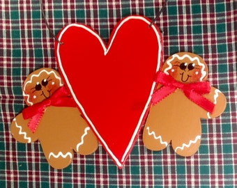 Gingerbread Couple with heart Handpainted personalized Christmas Ornament!