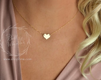 Gold Heart Necklace, Personalized Necklace, Gold Necklace, Delicate Necklace, bridesmaid gifts, gift for mom, wedding gift