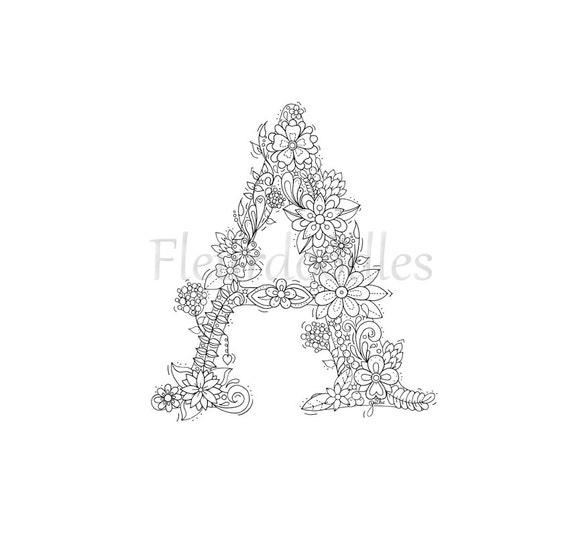 adult coloring page floral letters alphabet a by fleurdoodles. Black Bedroom Furniture Sets. Home Design Ideas