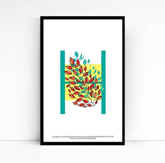 Letter h wall art alphabet print leaves home decor 5x7 for Alphabet wall decoration