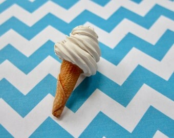 Miniature Food Jewelry Polymer Clay Miniature Ice Cream Cone Charm, Vanilla Soft Serve Ice Cream Cone, Summer Charm