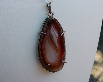 Agate Stone Slice Necklace - Handmade & Silver