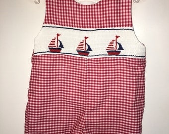 Smocked Sailboat Jon Jon - Sibling Outfits Available