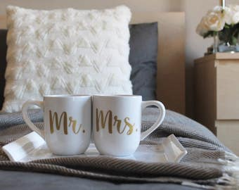 Mr and Mrs. Coffee Mugs, Option to Personalize,  Engagement Gift Engagement gift for couple