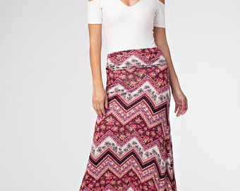 S2912: Full Length Geometric Floral Printed Wide Waistband A Line Flared Maxi Skirt (Made in USA)