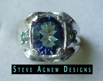 Sea Blue Quartz and Emerald Ring