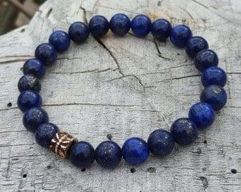 Lapis Lazuli Bracelet, Gemstone Bracelet, Third Eye Chakra Bracelet, Stone Meditation Bracelet, Gemstone Yoga Bracelet, Lapis Lazuli Jewelry