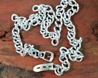Vintage Silver Tone Chain Belt with Metal Buckle , 1960's 1970's Aluminum Belt,  Ladies Vintage Metal Link Belt with Buckle Closure