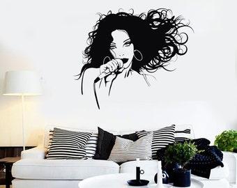 Wall Vinyl Decal Singer Singer Girl Pop Rock Music Mural 2249di