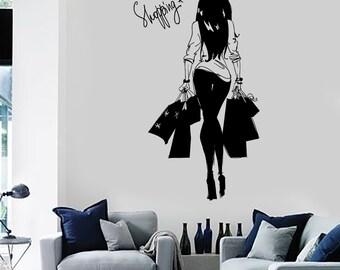 Wall Decal Girl Young Woman Shopping Bags Vinyl Sticker Art 1404dz