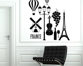 Wall Decal Paris France Love Romantic Eiffel Tower Vinyl Decal Sticker 1843dz