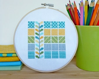 Seafoam Squares, Modern Cross Stitch Pattern PDF, Instant Download, Geometric Cross Stitch, Beginner Cross Stitch, Modern Embroidery Pattern