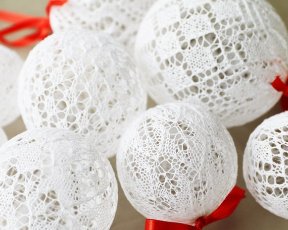 Christmas Tree Balls, Christmas Decor, Knitted Christmas Balls, Estonian Lace, White Ball