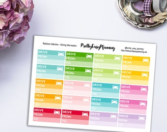 Driving Information multicolor planner stickers - Erin Condren - Happy Planner - Filofax