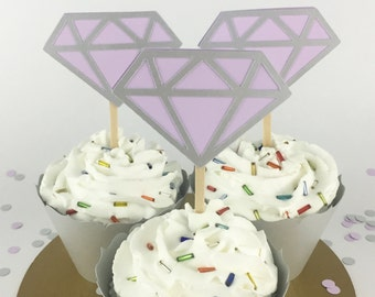 Party Decorations - Engagement Party - Diamond Cupcake Toppers - Bridal Shower - Lavender and Silver Diamond Cupcake Toppers - Set of 12