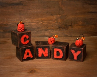 "Halloween Shabby Chic Letter Blocks ""Candy"""
