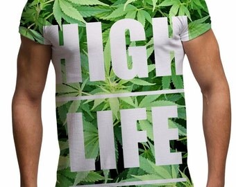 All Over Print Weed Graphic T Shirt High Life Sublimation Trendy Cool Festival Fashion