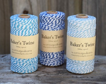 Blue Baker's Twine FREE SHIPPING 12ply 100% Cotton - 100m / 30m / 10m