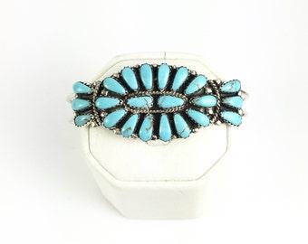 Handmade Native American Navajo Sterling Silver Turquoise Bracelet