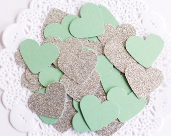 Mint Green and Silver Confetti, Glitter Confetti, Heart Confetti, Gold Baby Shower,Mint Green Wedding,Party Decor, Bridal Shower