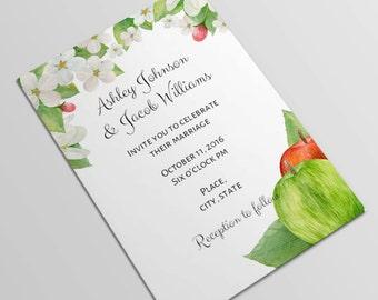 Wedding invitation printable Invitation card Wedding invitations Diy wedding invitation Green wedding Printable wedding invitation 1W54