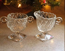 40's sugar and creamer set, lattice pattern, pedestal sugar and creamer, glass sugar and creamer