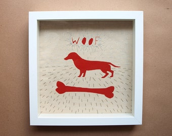 Red dog wall art, Red dog nursery décor, Dog toddler wall art, Dog bone wall print, Hound artwork, For pet lovers, Woof wall art