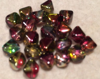 Bicone Beads, 6mm, Crystal Magic Apple, 00030-95600, 25 Beads, Czech Glass