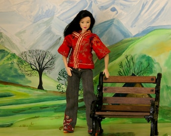 Chinese Coat - barbie - red